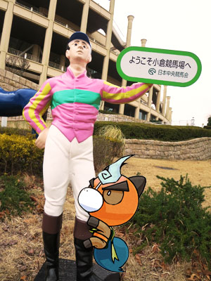 勝負服を着た騎手のお人形全身